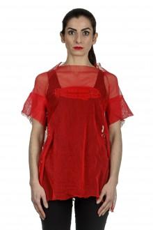 Rundholz Dip Damen Oversized Shirt mit Print rot