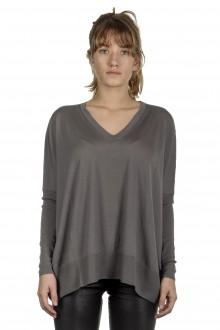 Larens Zurich Damen Pullover mit V-Ausschnitt aus Merinowolle taupe