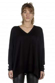 Larens Zurich Damen Pullover mit V-Ausschnitt aus Merinowolle schwarz