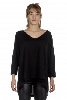 Larens Zurich Damen Pullover in A-Linie aus Merinowolle schwarz