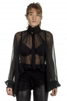 Ann Demeulemeester Damen Bluse schwarz transparent