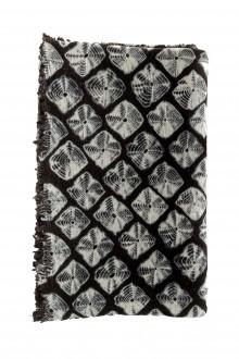 Suzusan Decke Shibori aus Wollmischung schwarz weiß