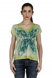 AVANT TOI Damen V-Neck T-Shirt mit handbemalten Print mehrfarbig