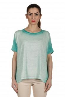 AVANT TOI Damen Oversized T-Shirt aus Leinen türkis