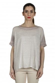 AVANT TOI Damen Oversized T-Shirt aus Leinen taupe