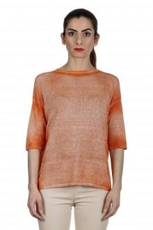 AVANT TOI Damen Feinstrick-Pullover aus Leinenmischung orange
