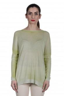 AVANT TOI Damen Fein gestrickter Pullover mit Schlitzen grün