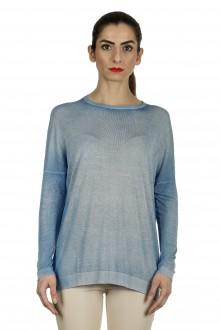 AVANT TOI Damen Fein gestrickter Pullover mit Schlitzen blau