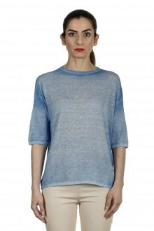 AVANT TOI Damen Feinstrick-Pullover aus Leinenmischung blau