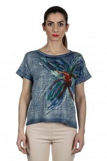 AVANT TOI Damen Leinen T-Shirt mit handbemalten Print mehrfarbig