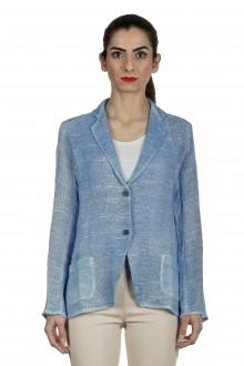 AVANT TOI Damen Leinen-Baumwoll-Mix Blazer mit Farbverlauf blau