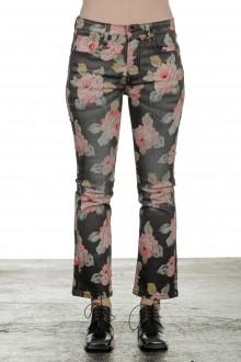 R13 Damen Ausgestellte Cropped-Jeans mit Blumen-Print mehrfarbig
