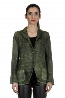 AVANT TOI Damen Leinen-Baumwoll-Mix Blazer mit Farbverlauf grün