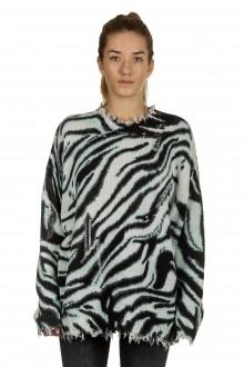 R13 Damen Pullover mit Zebradruck aus Baumwolle mehrfarbig