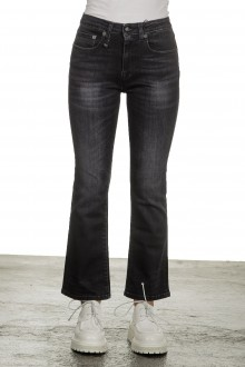 R13 Damen Ausgestellte Cropped-Jeans dunkelblau