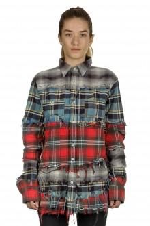 R13 Damen Kariertes Hemd im Distressed-Look mehrfarbig