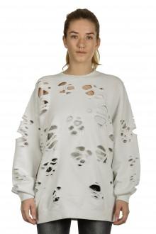 R13 Damen Sweatshirt im Distressed-Look off-white