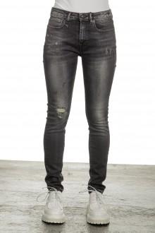 R13 Damen Distressed-Jeans mit hohem Bund schwarz