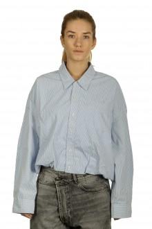 R13 Damen Geknöpftes Cropped-Hemd Gestreift blau weiß