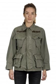 R13 Damen Geknöpfte Military-Jacke khaki