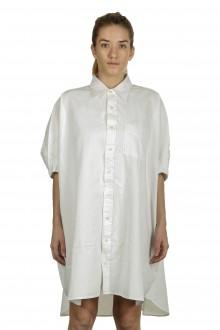 R13 Damen Hemdblusenkleid im Oversized-Look weiß
