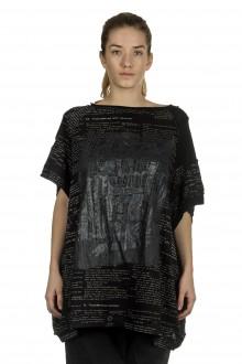 Rundholz Damen Ausgestelltes Shirt mit Aufdruck schwarz