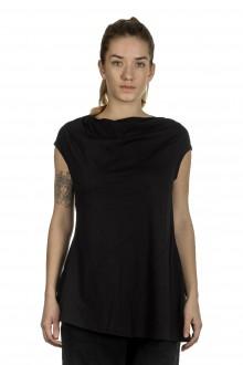 Rundholz Damen Shirt mit drapiertem Kragen schwarz