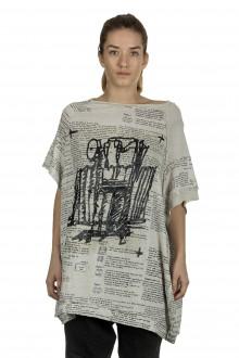 Rundholz Damen Ausgestelltes Shirt mit Aufdruck mehrfarbig