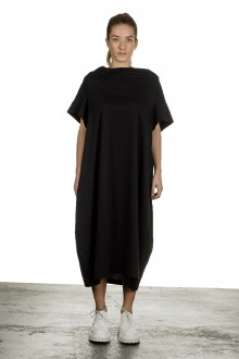 Rundholz Damen Kurzarmkleid mit drapiertem Kragen schwarz