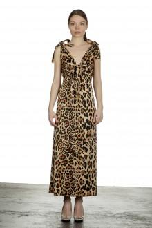 Paco Rabanne Damen Maxikleid mit Leoparden-Print mehrfarbig