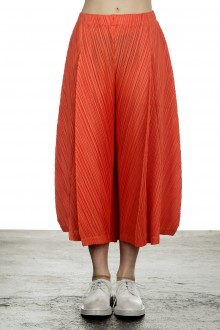 Pleats Please Issey Miyake Damen  Plissee Weite 7/8 Taillenhose orange