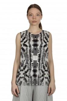 Pleats Please Issey Miyake Damen Fransen-Top mit grafischem Print mehrfarbig