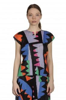 Pleats Please Issey Miyake Damen Plissé Bluse mit grafischem Print mehrfarbig