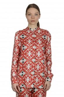 813 Ottotredici Damen Bluse mit Print aus Seide mehrfarbig