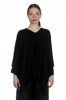 Pleats Please Issey Miyake Damen Plissierter Pullover in A-Linie schwarz
