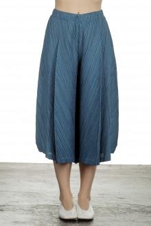 Pleats Please Issey Miyake Damen  Plissee Weite 7/8 Taillenhose blau