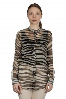 813 Ottotredici Damen Transparente Bluse mit Print aus Seide mehrfarbig