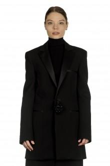 Paco Rabanne Damen Oversized Blazer mit Verzierter Brosche schwarz