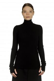 Paco Rabanne Damen gerippter Rollkragenpullover schwarz