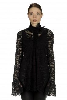 Paco Rabanne Damen Bluse mit Spitzendetails schwarz