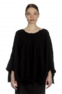 Rundholz Damen Cropped Strickpullover in Ballonform schwarz