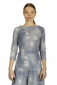 Schella Kann 2 Damen Langarmshirt mit Jeans-Print mehrfarbig