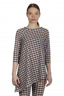 Schella Kann 2 Damen Asymmetrisches Langarmshirt mit Print mehrfarbig
