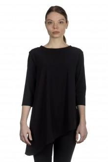 Schella Kann 2 Damen Asymmetrisches Langarmshirt schwarz