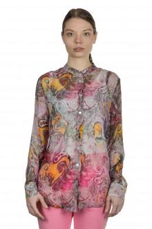 813 Ottotredici Damen Transparente Bluse mit Paisley-Print aus Seide mehrfarbig