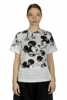 Comme Des Garçons Damen T-Shirt mit Mickey-Maus-Print schwarz weiß