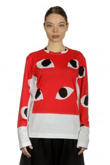 Comme Des Garçons Damen Langarmshirt mit Eye-Print mehrfarbig