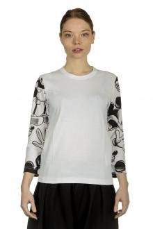 Comme Des Garçons Damen Langarmshirt mit Mickey-Maus-Print schwarz weiß