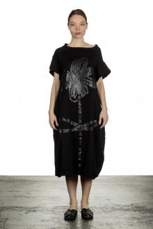 Rundholz Damen Kurzarmkleid mit Blumen-Print schwarz