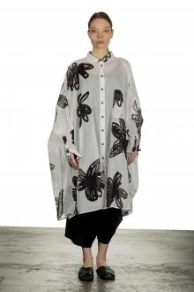 Rundholz Dip Damen Hemdblusenkleid A-Linie Blumen-Print schwarz weiß